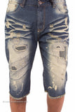 Antique Wash Distressed Cutoff Denim Shorts