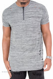 Ripped Marbled Long Length Extended Tee with Zipper (Grey)