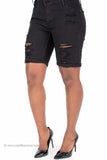 Distressed Stretch Denim Bermuda Shorts (Black)