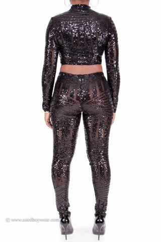 """Show Stopper"" Sequin Embellished 2-piece Long Sleeve Set"