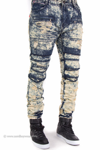 Bleached Distressed Layered Slim Fit Denim Jeans