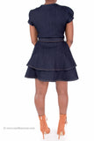 Sexy Belted Stretch Denim Flare Bottom Skater Dress