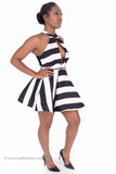 Black and White Striped Flare A-Line Mini Skater Dress