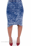 Acid Wash Stretch Denim Rear Wrap Midi Skirt