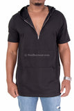Mesh Zipper Collar Extended Length Side Zipper Hoodie