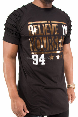 """Believe in Yourself"" Distressed Gold Foil Extended Zipper Shirt"