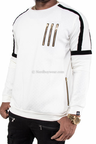 Cut and Sewn Velvet Trimmed Zipper Detail Sweater Crewneck (White)