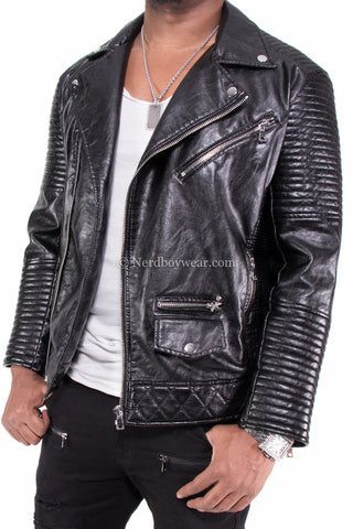 Smoke Rise Vegan Leather Biker Jacket (Black)