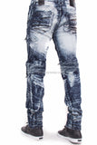 Balmain Style Flex Stretch Distressed Biker Zipper Denim Jeans
