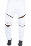 Flex Stretch Distressed Biker Denim Zipper Jean (White)