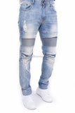 Flex Stretch  Destroyed Biker Moto Slim Fit Denim Jeans