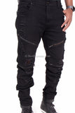 Flex Stretch Distressed Biker Denim Zipper Jean (Black)