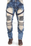 Distressed Biker Zipper Denim Jeans with PU Backing