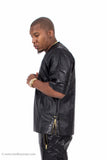 Faux Leather Football Jersey with Alligator Trim & Side Zippers