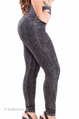 Black High Waist Mineral Washed leggings