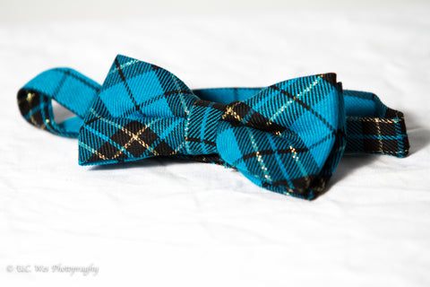 Teal Plaid Cotton Bow Tie