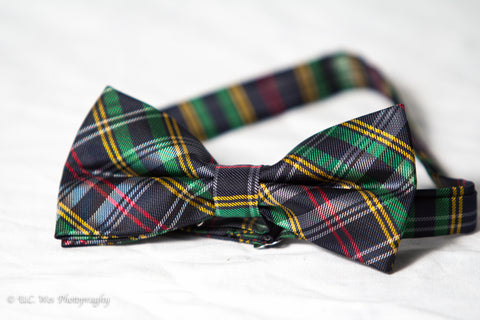 Black, Green, and Red Plaid Bow Tie
