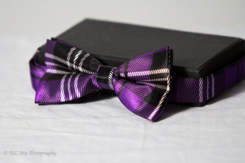 Purple Plaid Bow Tie (Polyester)