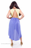 Yellow and Blue High Low Open Back Dress