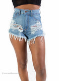 High Waist Distressed Blue Denim Shorts