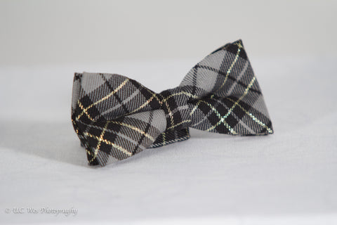 Grey Plaid Cotton Bow Tie