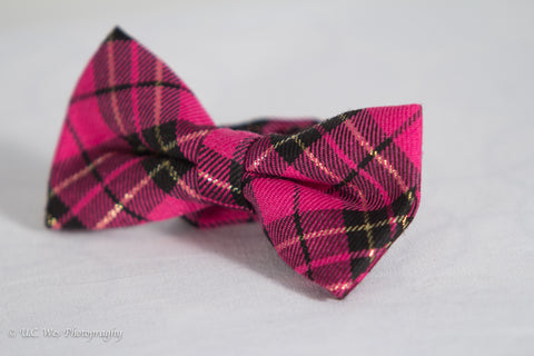 Pink and Black Plaid Cotton Bow Tie
