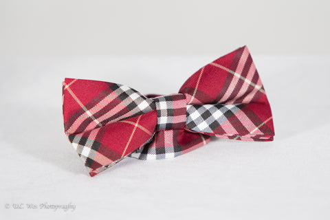 Cranberry Red Plaid Cotton Bow Tie