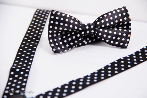 Black Polka Dot Suspenders and Bow Tie