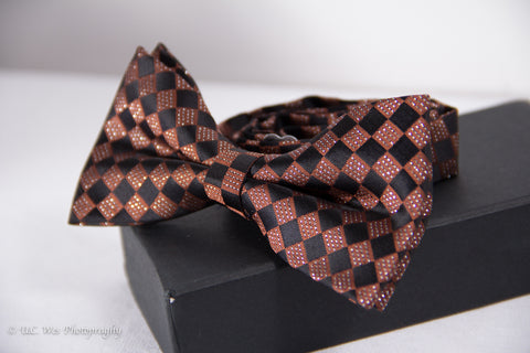 Brown and Black Checkered Cotton Bow Tie