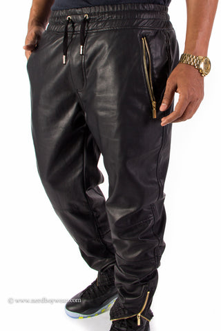 Faux Leather Jogger Sweatpants with Zippers