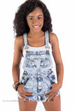 "Acid Wash Destroyed Denim Overall Shorts ""Shortall"" with Pockets"
