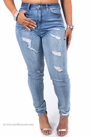 Sexy High Waist Distressed Destroyed Perfect Fit Skinny Jeans
