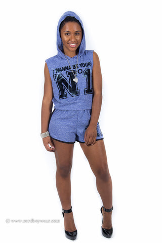#1 Hooded Short set (Blue)