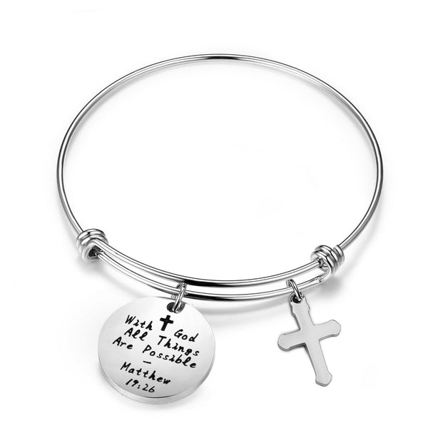 Matthew 19:26 With God All Things Are Possible Bracelet Cuff Bracelet Religious Jewelry Encouragement Gift For Women