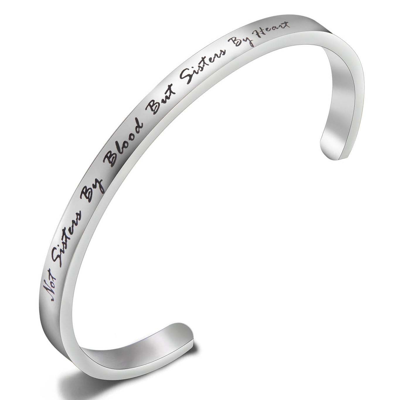 "Best Friends Bracelet ""Not Sisters By Blood But Sisters By Heart ""Cuff Bangle Bracelet,Inspirational Friendship Jewelry,Birthday Thanksgiving Christmas Day Gifts for Women & Girls"