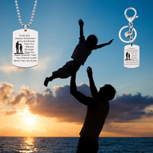 Load image into Gallery viewer, Necklace and Keychain To My Son Jewelry Remember You Are Always Braver Than You Believe Hand Stamped Dog Tag