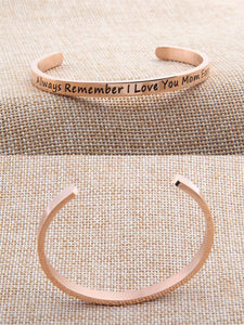 "Best Gift For Mother ""Always Remember I Love You Mom Forever ""Inspirational Messaged Cuff Bracelet Bangle - Mom Gifts From Daughter or Son"