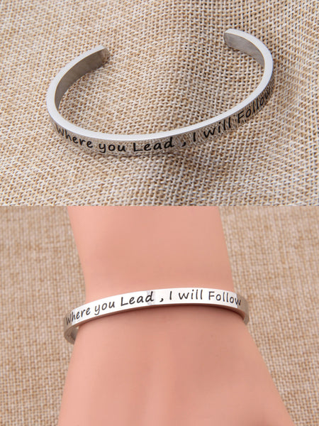 Where You Lead I Will Follow Friendship Cuff Bangle Bracelet,Inspirational Women Jewelry Mother Daughter Bracelet Best Friend Gift