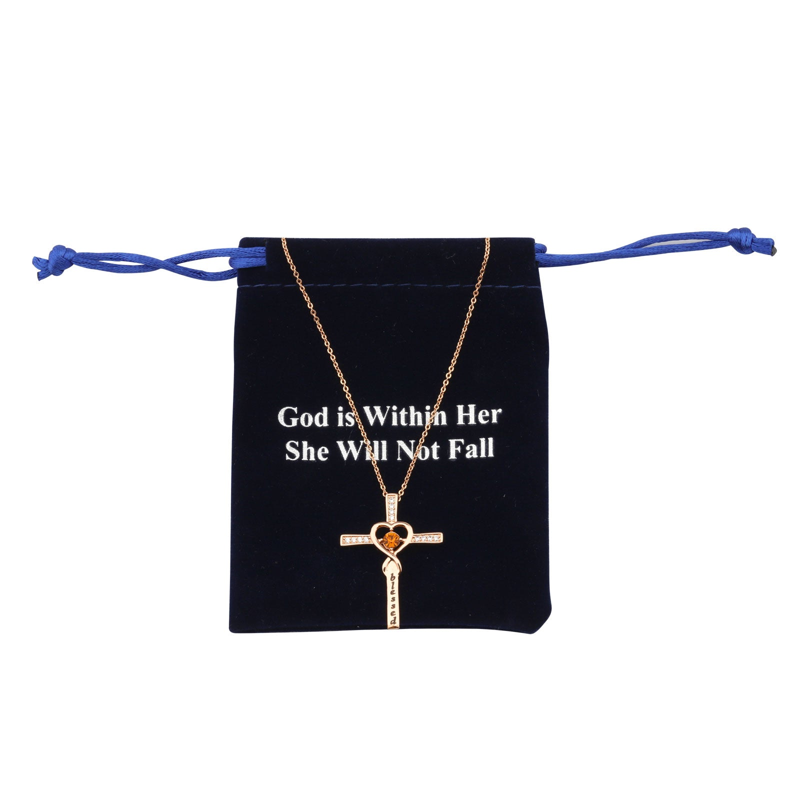 God is Within Her She Will Not Fall Rose Gold Cross Pendant Necklace with Topaz Birthstone Gift for Women