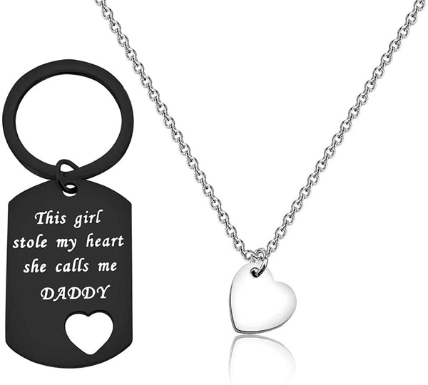 Father Daughter Gift These Girls Stole My Heart They Call Me Daddy Keychain Set Heart Cut out Necklace for Daughter