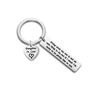 Daughter in Law Gift Giving Away My Son is Not an Easy Thing to Do Keychain Wedding Gift Jewelry for Bride Bridal Shower Gift