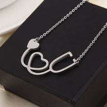 Load image into Gallery viewer, Doctor Nurse Stethoscope Stainless Steel Necklace with Heart