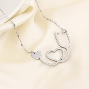 Doctor Nurse Stethoscope Stainless Steel Necklace with Heart