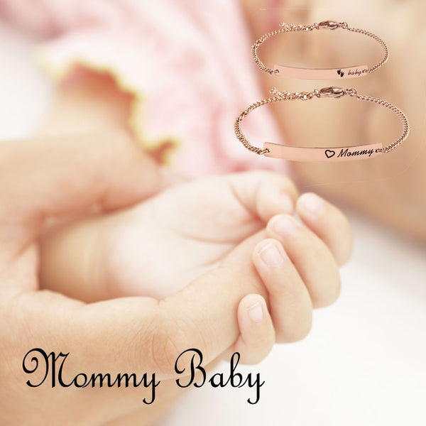 Mommy & Baby Bracelet Mommy Baby Bar Bracelet Set Baptism Bracelet Infant Toddler Jewelry