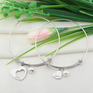 Big Sis Little Sis 2 Pieces Matching Heart Bracelet Set, Necklace set