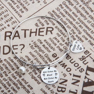 Sister In Law Bracelet Not Sister By Blood But Sister By Heart Charm Bangle Bracelet Sister Friend Gift