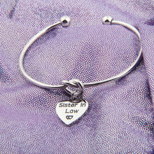Load image into Gallery viewer, Sister In Law Bracelet Not Sister By Blood But Sister By Heart Charm Bangle Bracelet Sister Friend Gift