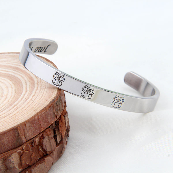 Owl Cuff Bracelet Bangle Engraved Message Bracelet Inspirational Gift to Friends