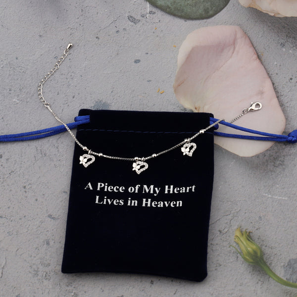 A Piece of My Heart Lives in Heaven Womens Silver Plated Butterflies Chain Bracelets with Lobster Clasp