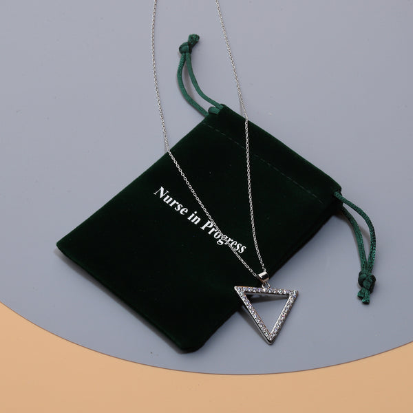 Nurse in Progress Fashion Womens Mother Triangle Pendant Necklace CZ 18 inch Chain